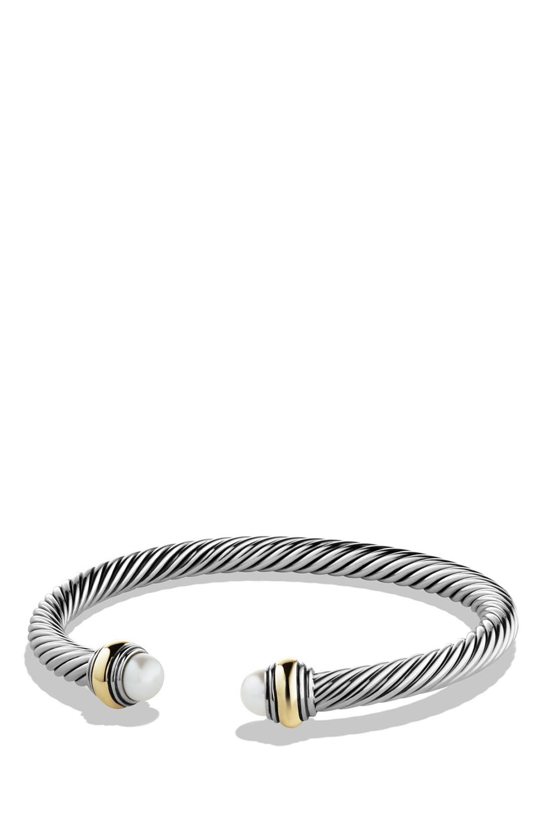 Cable Classics Bracelet with Semiprecious Stones & 14K Gold Accent, 5mm,                         Main,                         color, Pearl