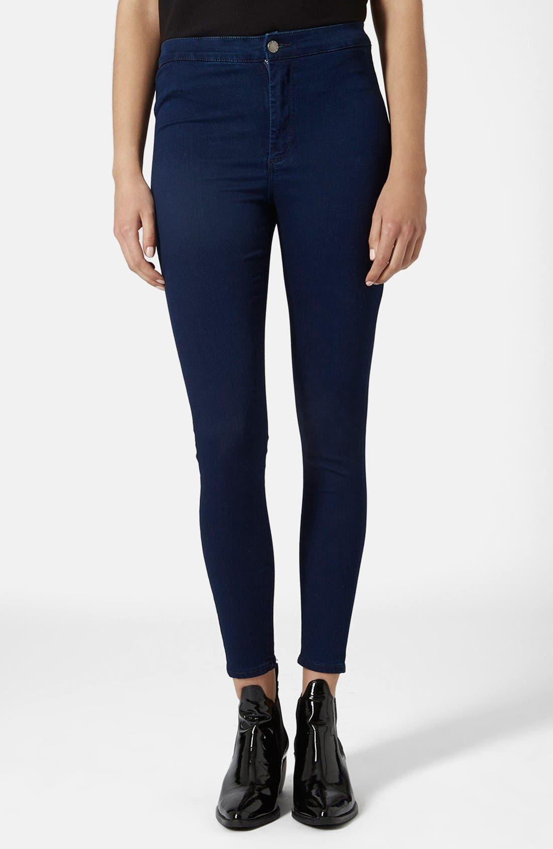 Main Image - Topshop Moto 'Joni' High Rise Jeans (Blue) (Petite)