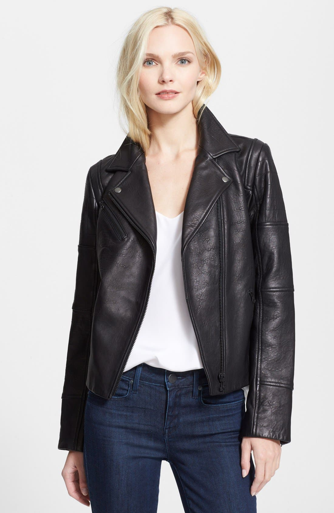 'RPM' Leather Moto Jacket,                             Main thumbnail 1, color,                             Black