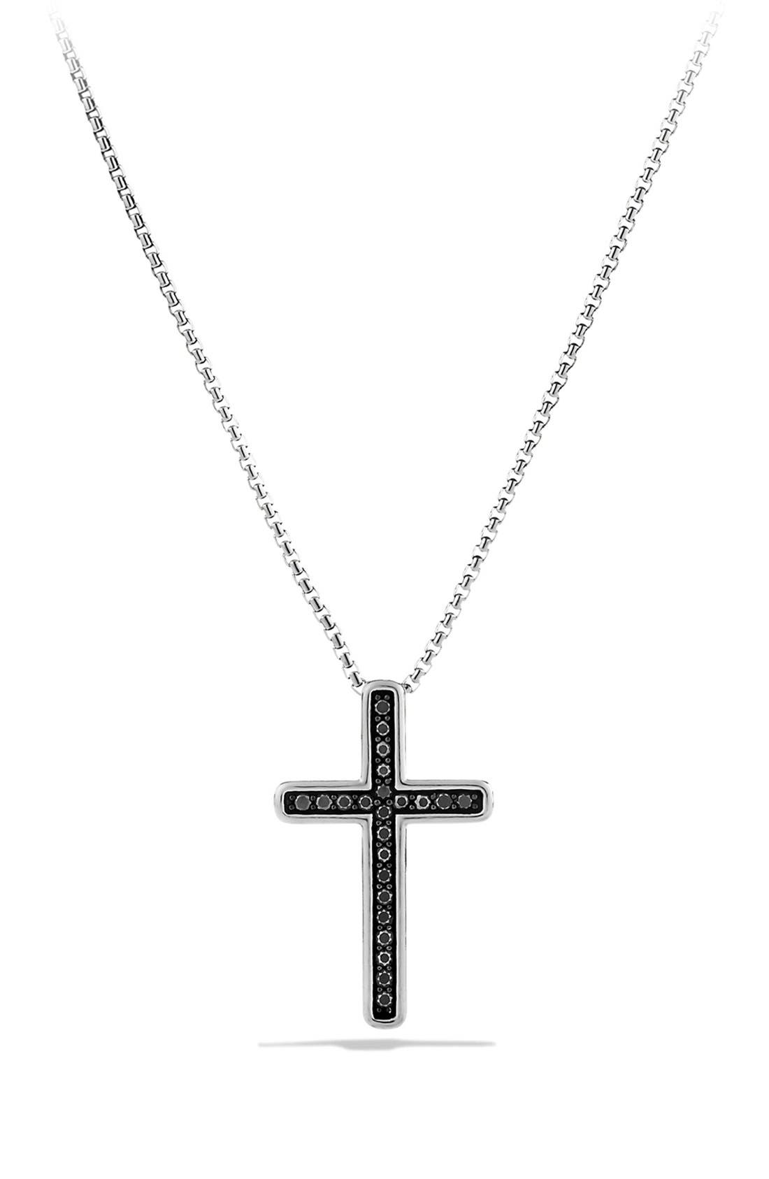 Alternate Image 1 Selected - David Yurman 'Petite Pavé' Cross Necklace with Black Diamonds