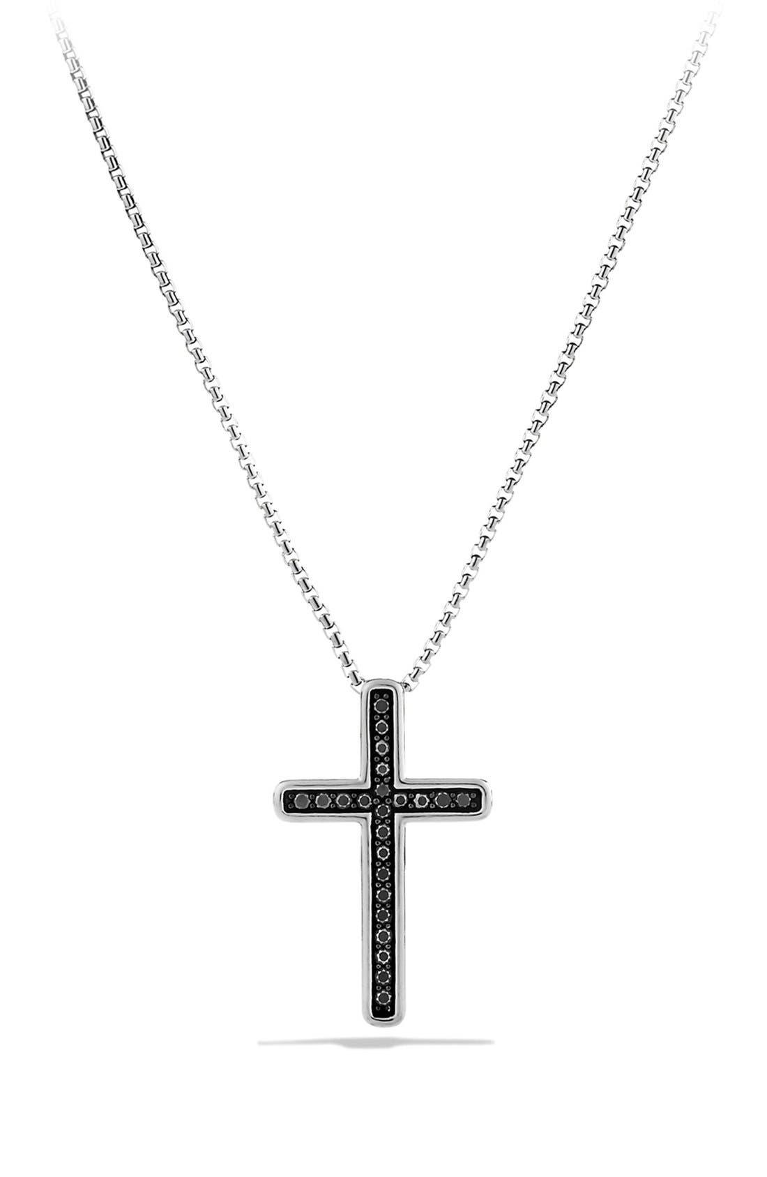 Main Image - David Yurman 'Petite Pavé' Cross Necklace with Black Diamonds