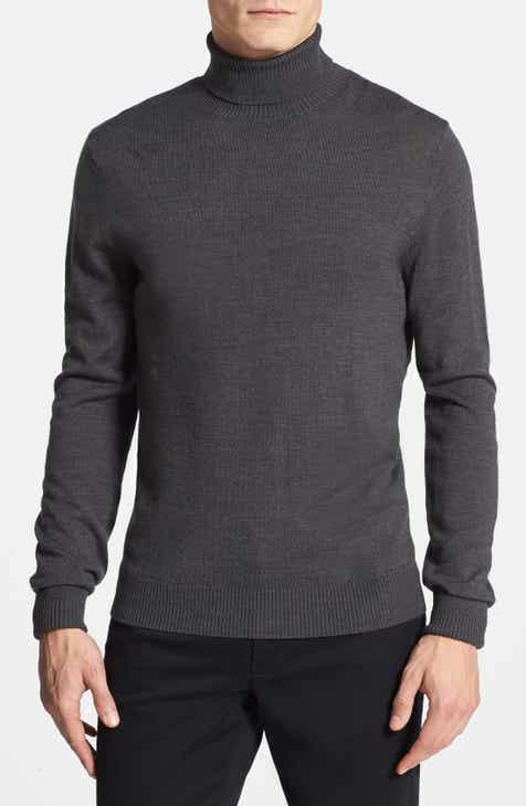 19114192e Men s Grey Turtleneck Sweaters