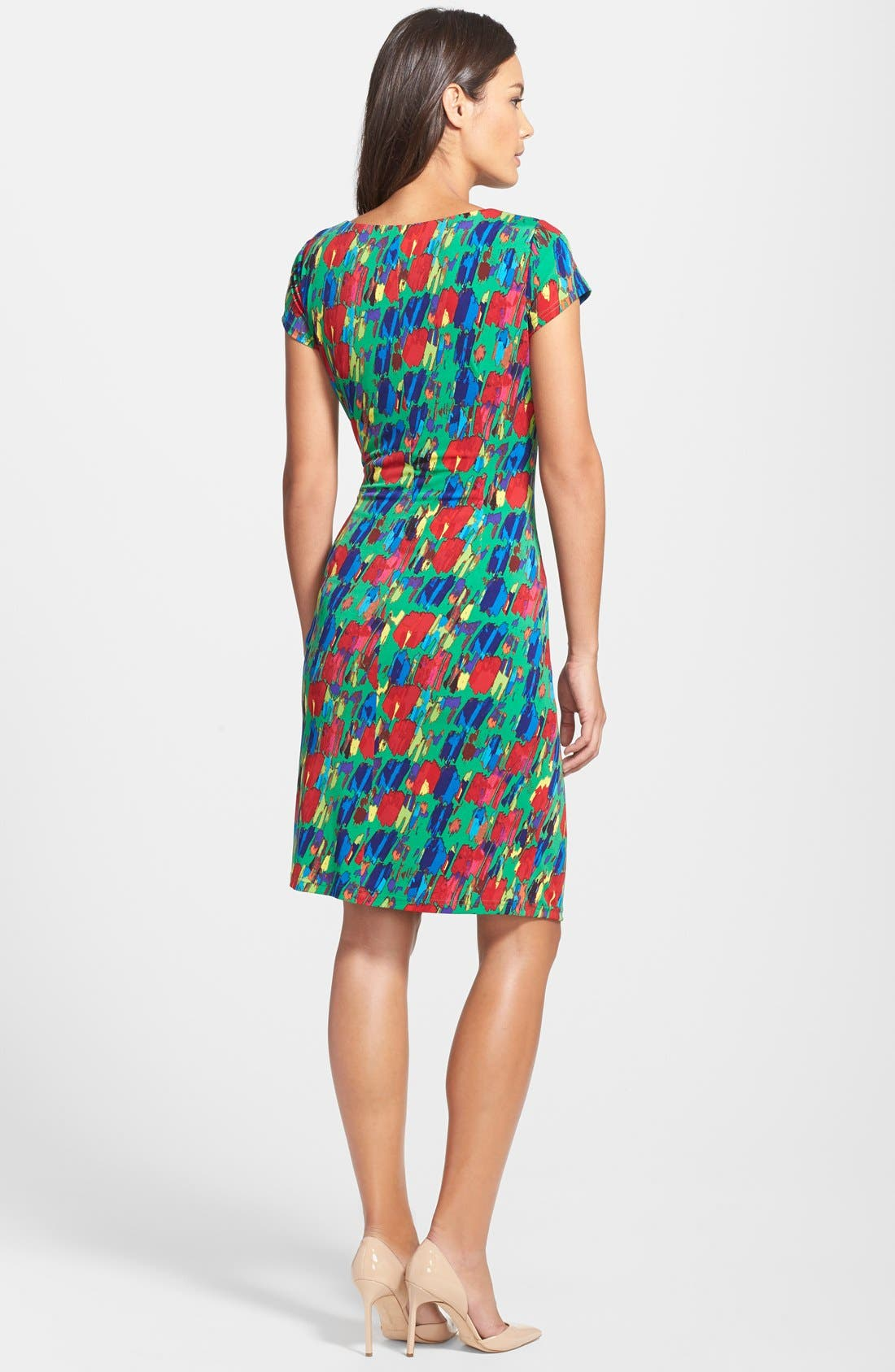 Alternate Image 2  - Ellen Tracy Print Jersey Faux Wrap Sheath Dress (Regular & Petite)