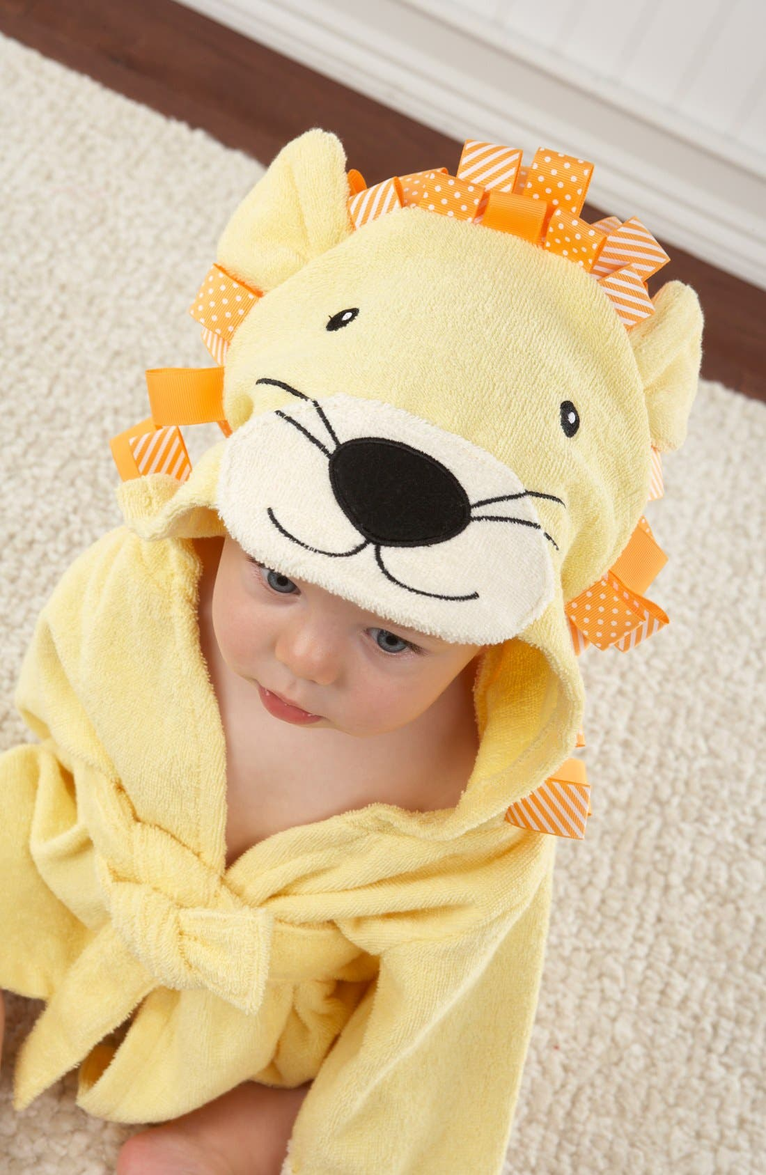 Main Image - Baby Aspen 'Big Top Bathtime' Lion Hooded Terry Robe (Baby)
