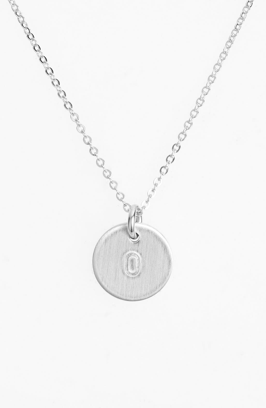 Sterling Silver Initial Mini Disc Necklace,                             Main thumbnail 1, color,                             Sterling Silver O