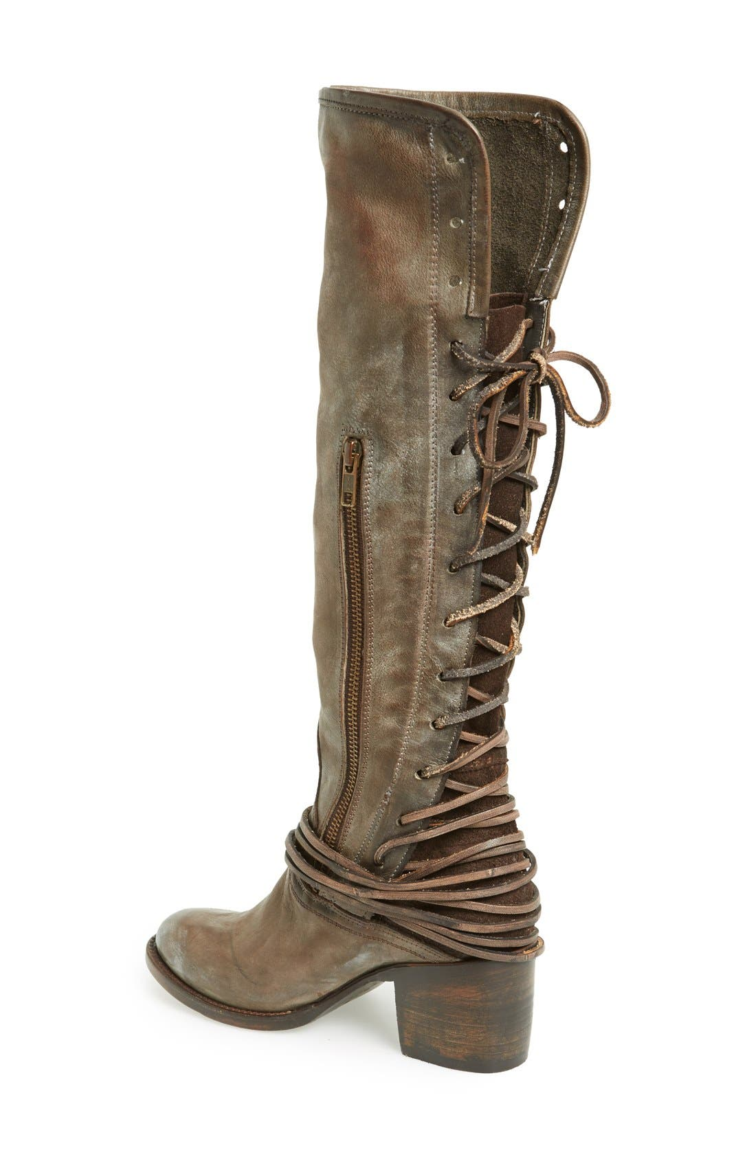 'Coal' Tall Leather Boot,                             Alternate thumbnail 2, color,                             Grey