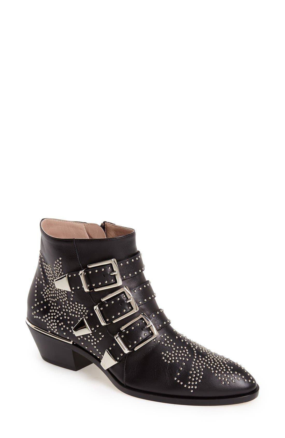 'Suzanna' Stud Bootie,                             Main thumbnail 1, color,                             Black