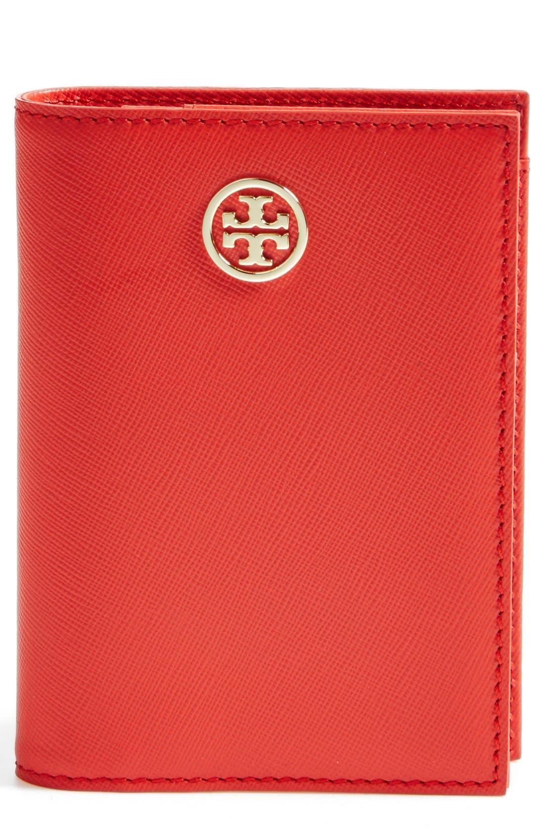 'Robinson' Passport Case,                         Main,                         color, Poppy Coral