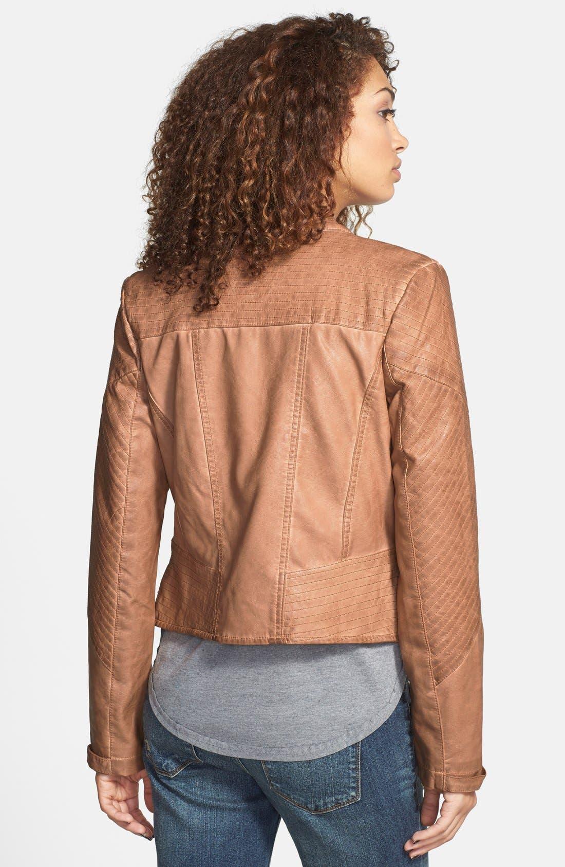 Alternate Image 2  - Jou Jou Quilted Panel Moto Jacket
