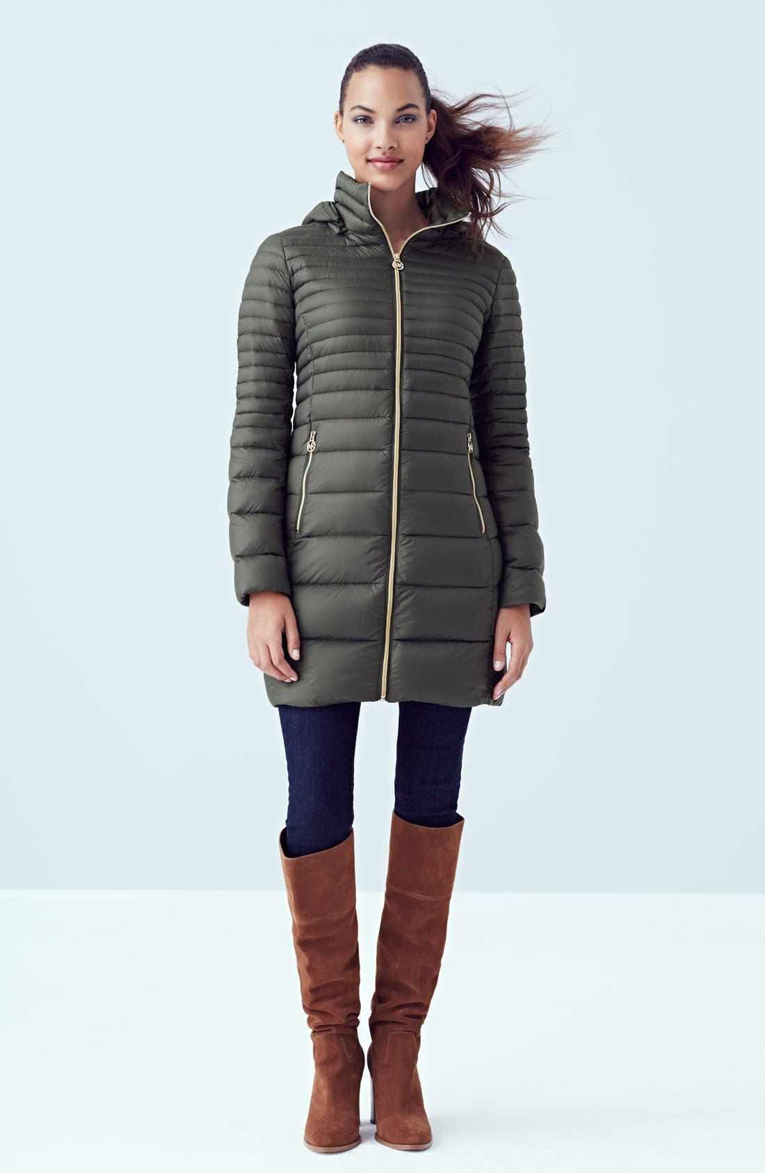 Alternate Image 5  - MICHAEL Michael Kors Packable Hooded Down Coat (Online Only)