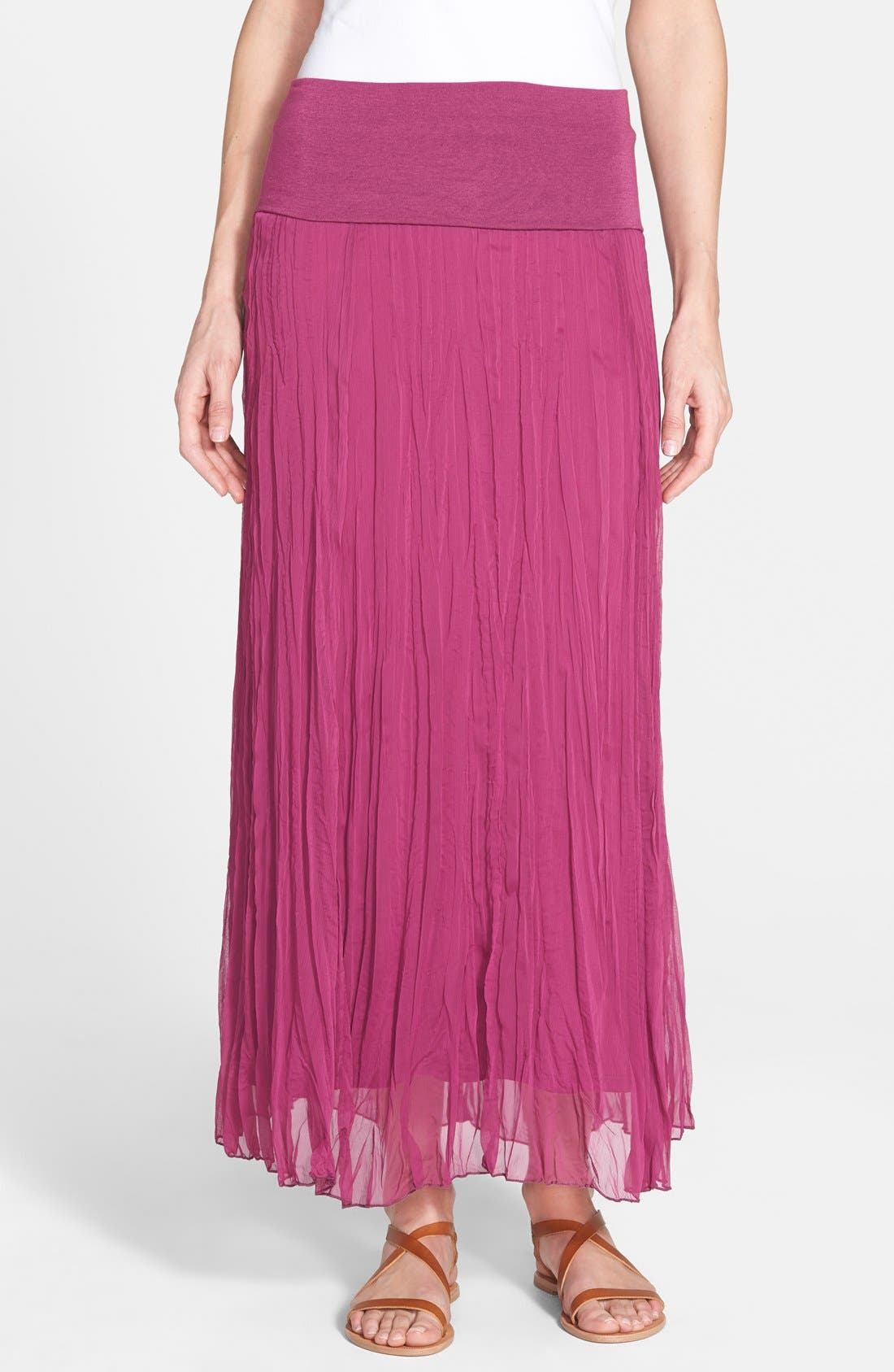 Main Image - Max & Mia Crinkled Maxi Skirt (Regular & Petite)