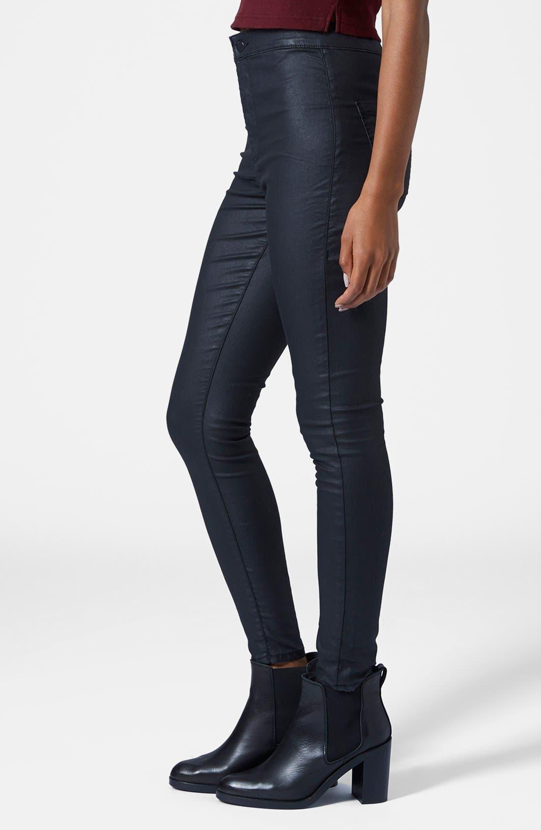 Main Image - Topshop Moto 'Joni' Coated Skinny Jeans (Black)
