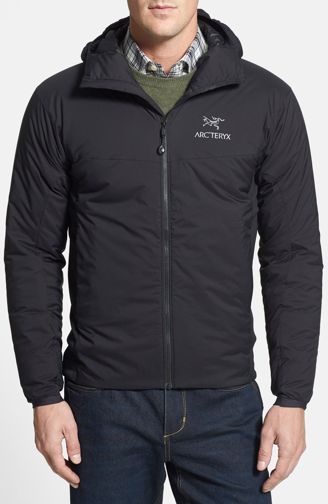 'Atom LT' Trim Fit Wind & Water Resistant Coreloft<sup>™</sup> Hooded Jacket,                         Main,                         color, Black