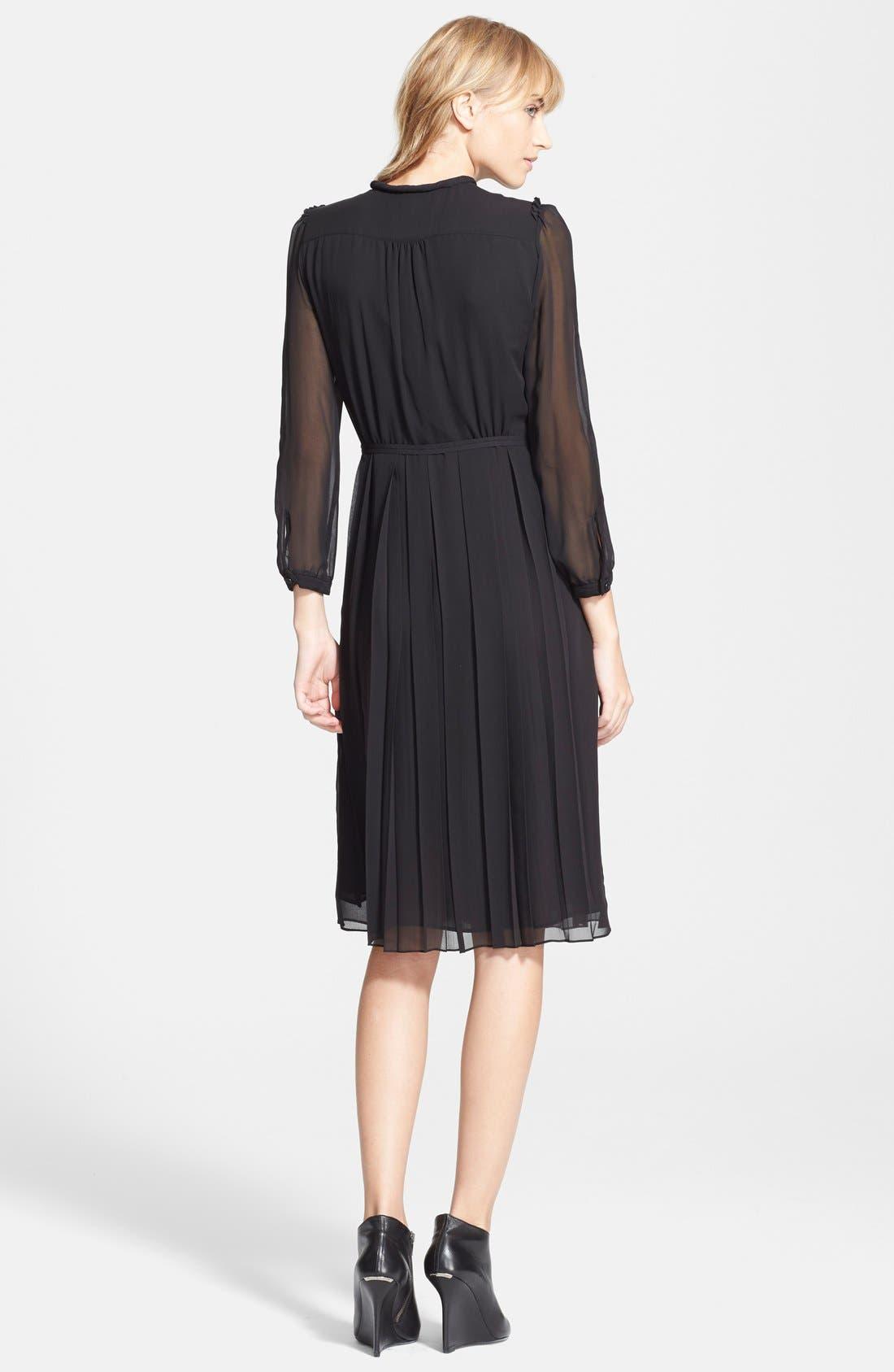 Alternate Image 2  - Burberry Brit 'Elenor' Pleat Mulberry Silk Dress