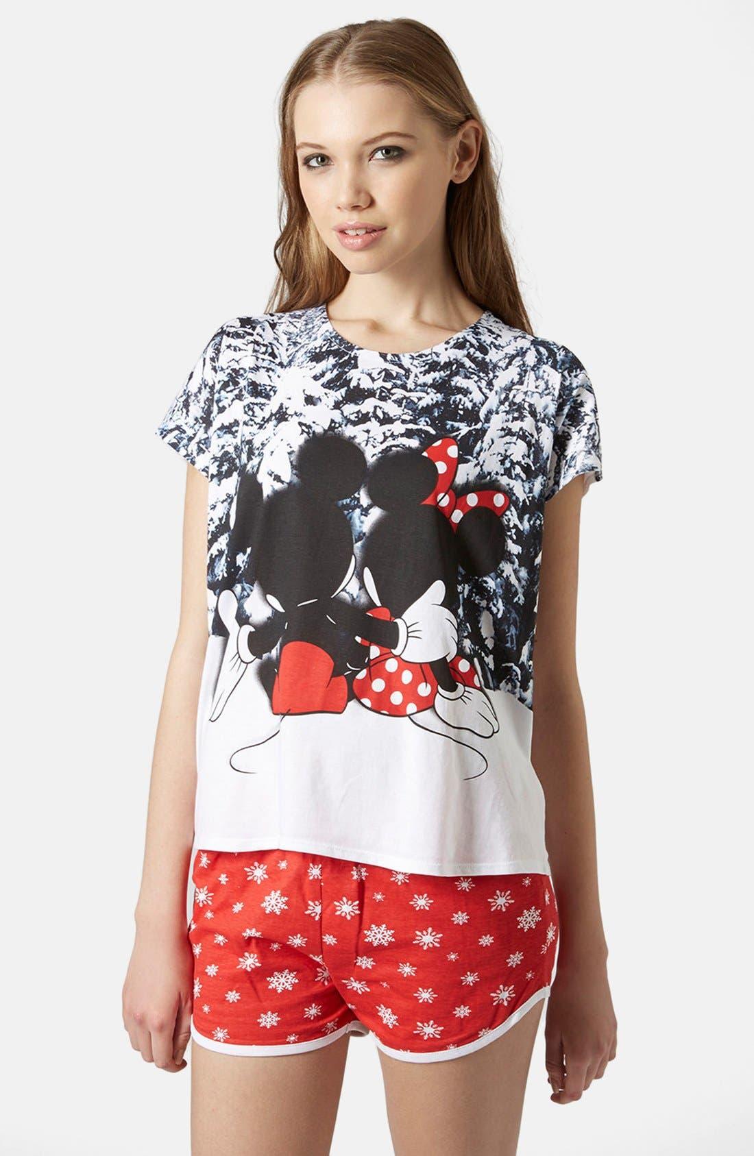 Alternate Image 1 Selected - Topshop Mickey & Minnie Pajama Set