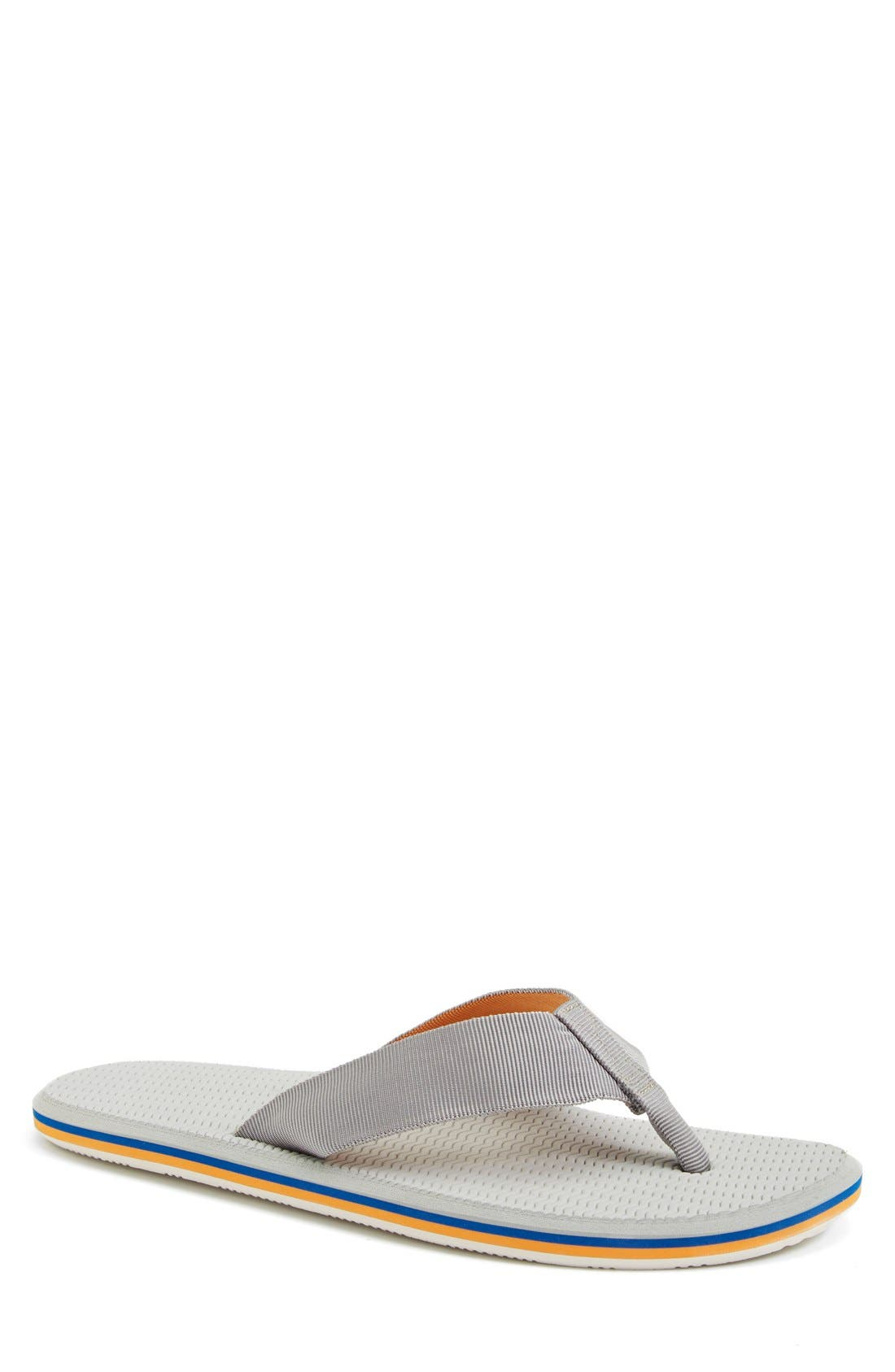 'Dunes' Flip Flop,                             Main thumbnail 1, color,                             Grey/ Blue/ Orange