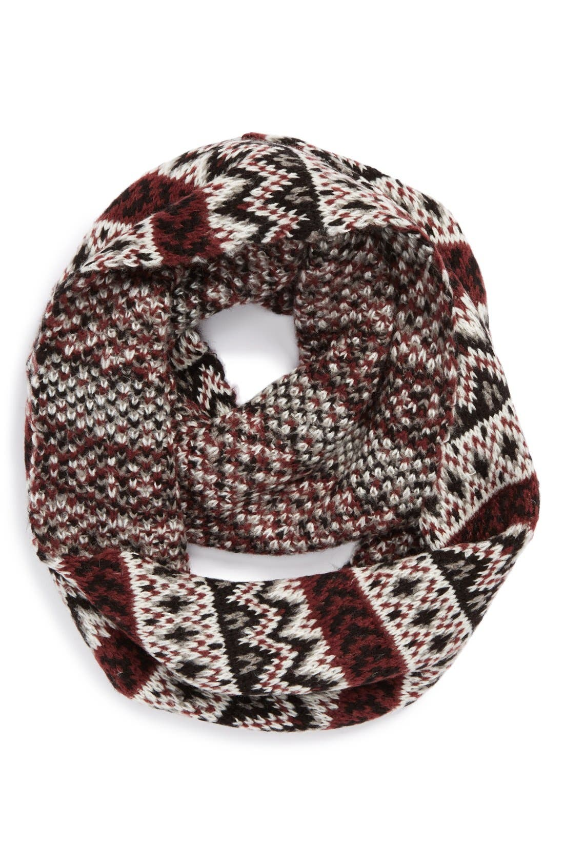Fair Isle Infinity Scarf,                             Main thumbnail 1, color,                             Black