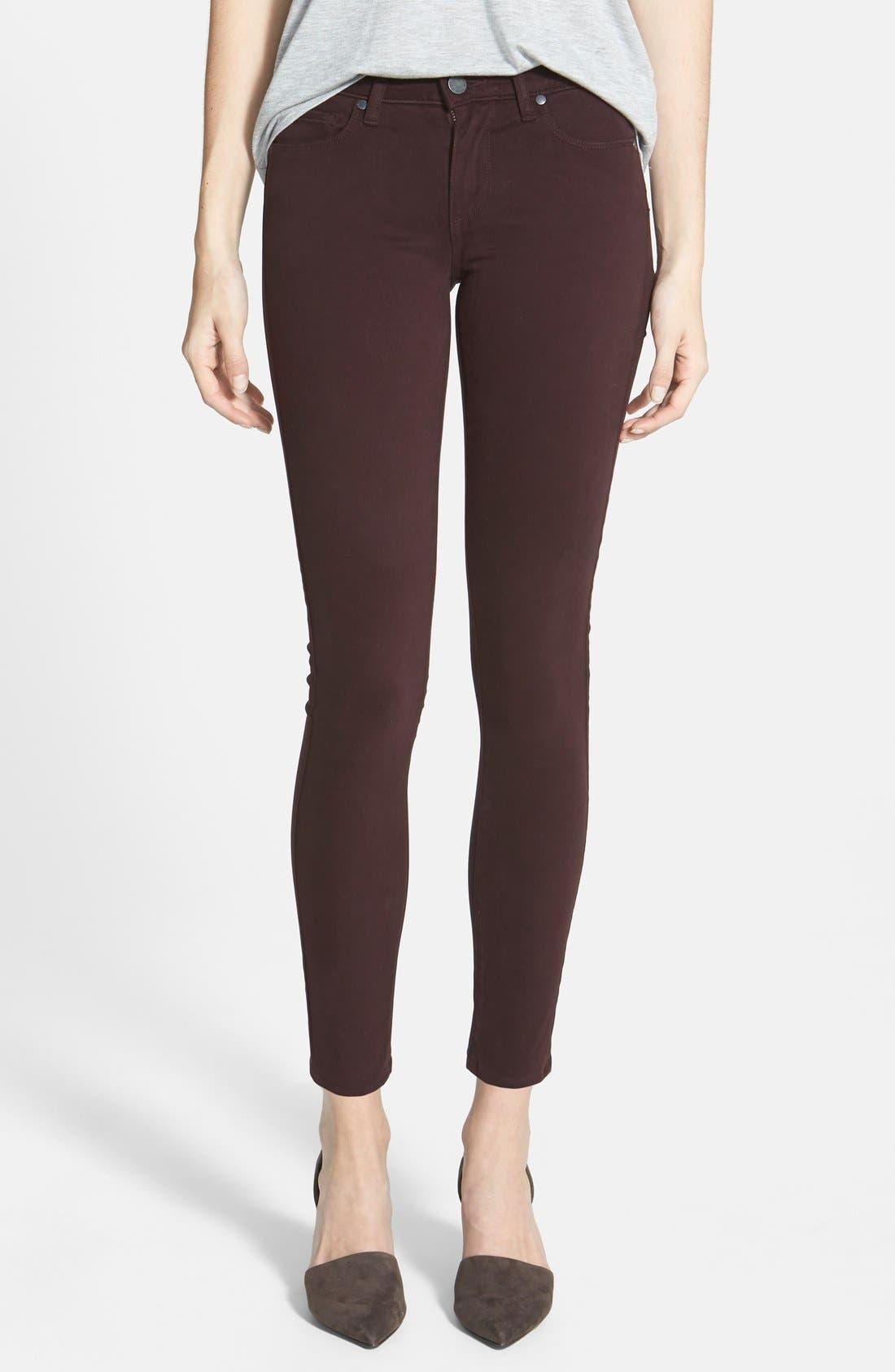 Main Image - Paige Denim 'Verdugo' Ultra Skinny Jeans (Dark Wine)