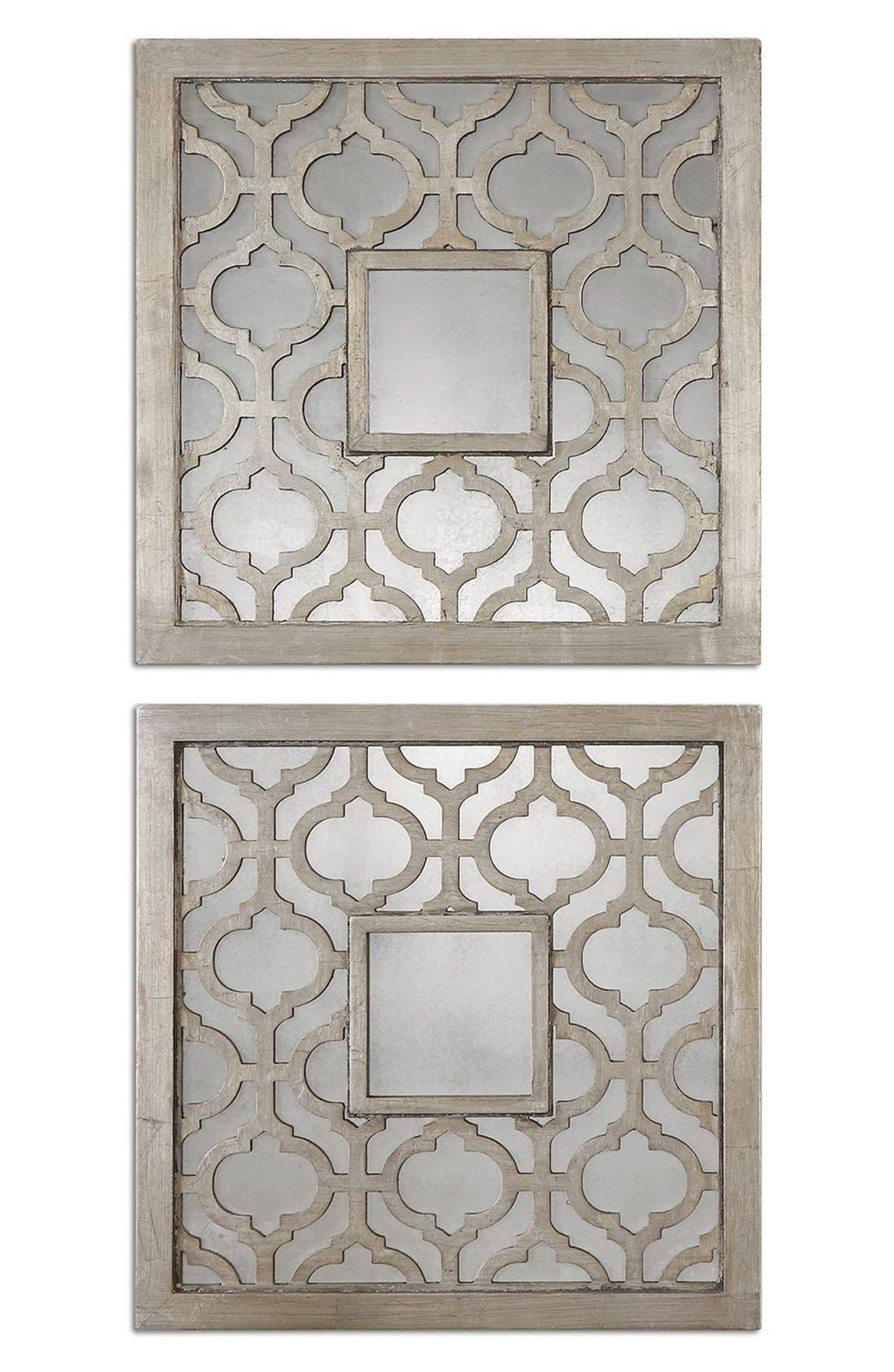 Main Image - Uttermost 'Sorbolo' Silver Leaf Square Mirror (Set of 2)