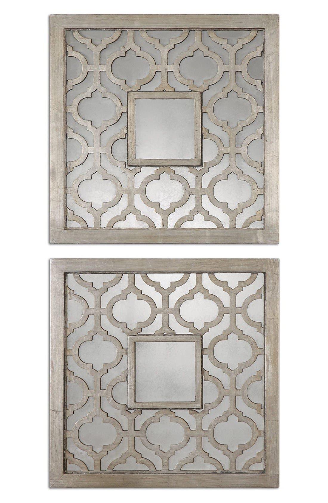 'Sorbolo' Silver Leaf Square Mirror,                         Main,                         color, Silver