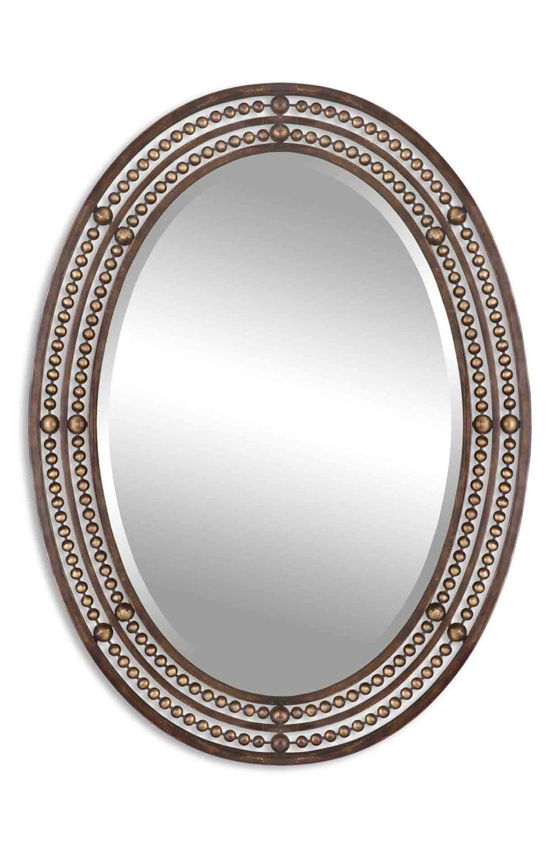 'Matney' Distressed Bronze Oval Wall Mirror,                         Main,                         color, Brown