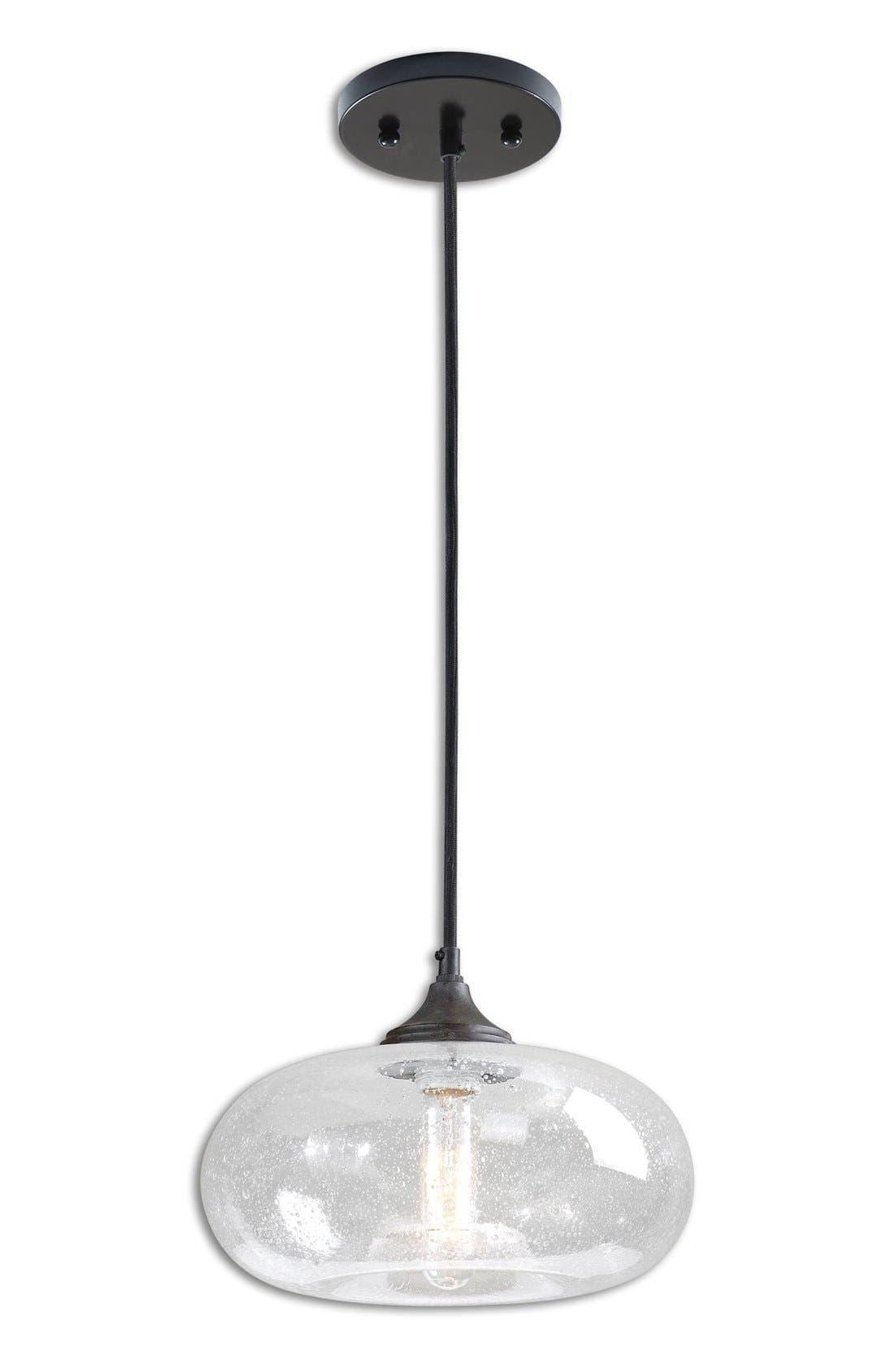 'Torus' Seeded Glass Mini Pendant Light,                             Main thumbnail 1, color,                             White