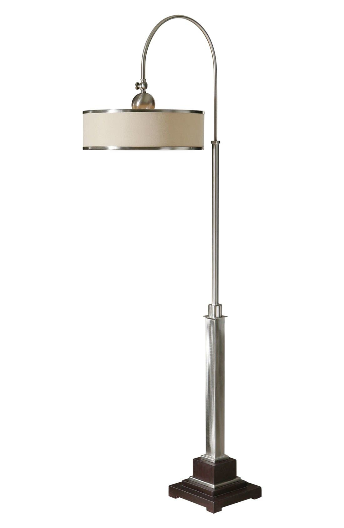 'Amerigo' Brushed Aluminum Floor Lamp,                             Main thumbnail 1, color,                             Silver