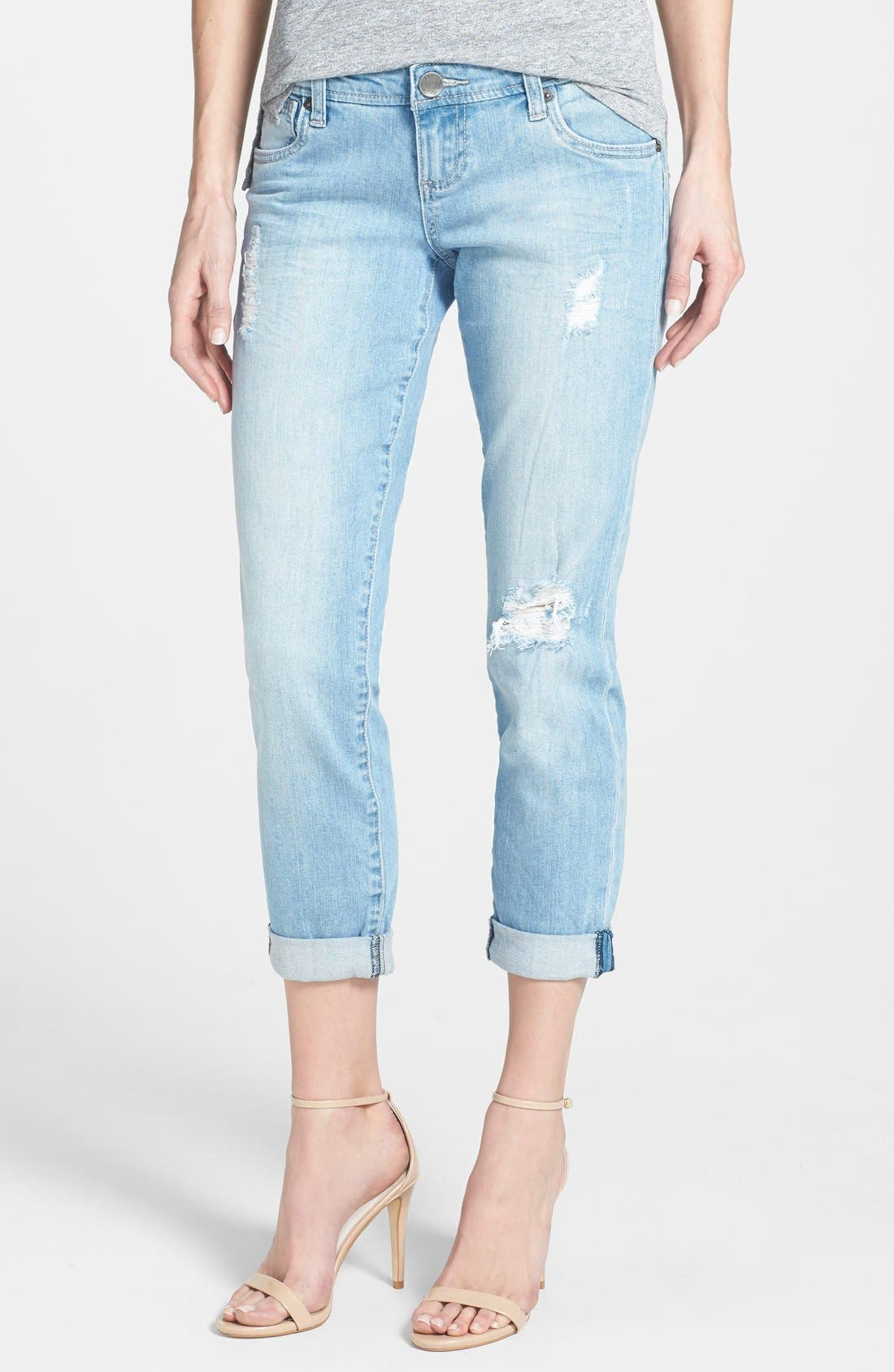 Main Image - KUT from the Kloth 'Adele' Distressed Crop Boyfriend Jeans (Slick)