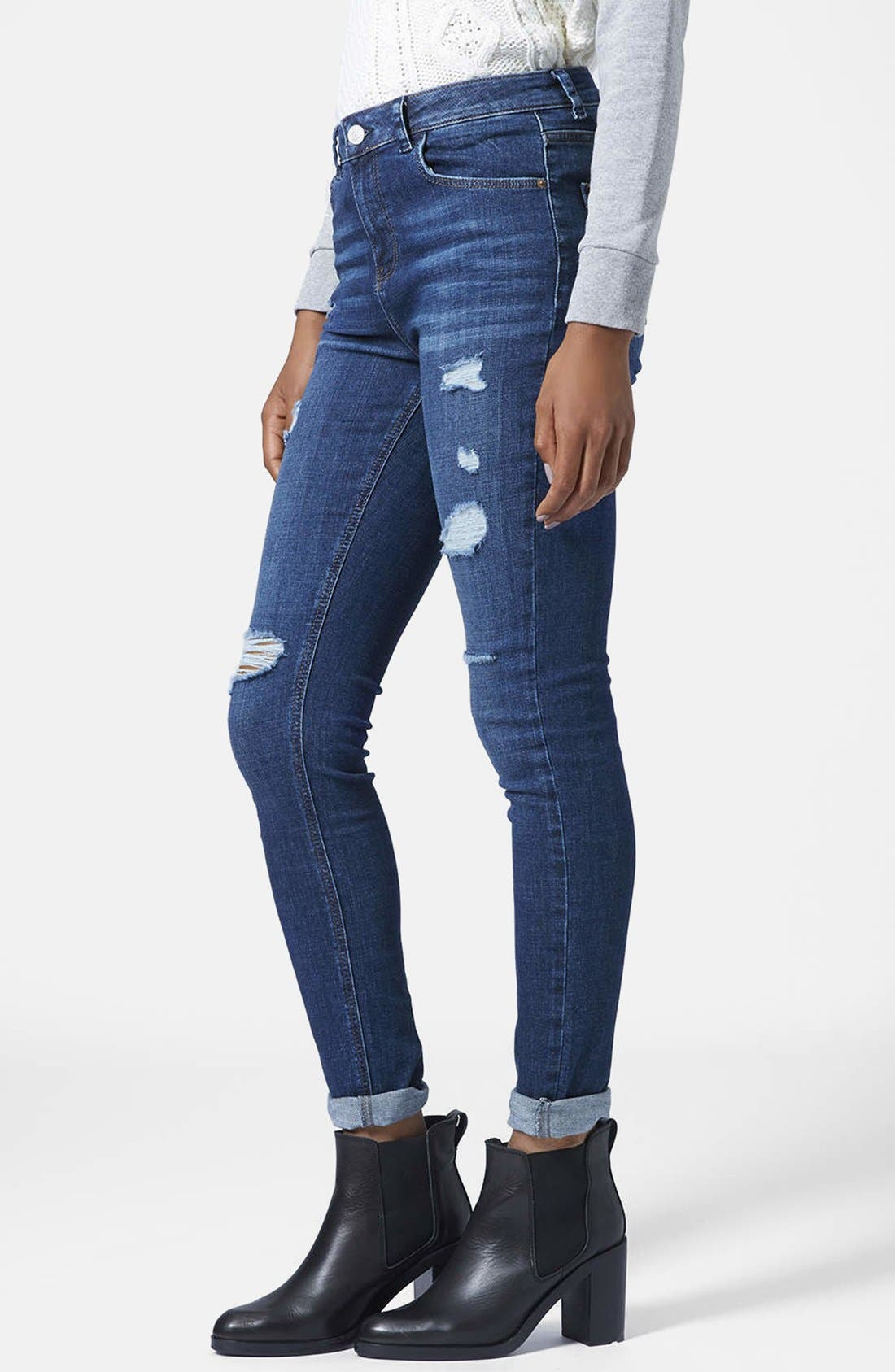 Moto Ripped Skinny Jeans,                             Main thumbnail 1, color,                             Dark Denim