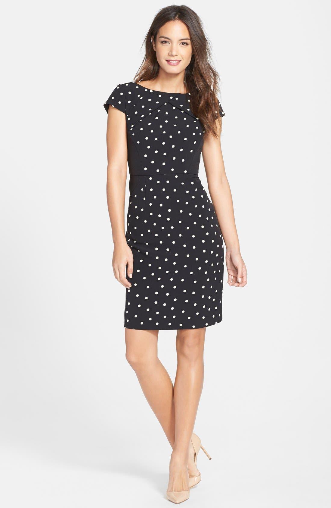 Alternate Image 3  - Adrianna Papell Polka Dot Pleat Detail Sheath Dress