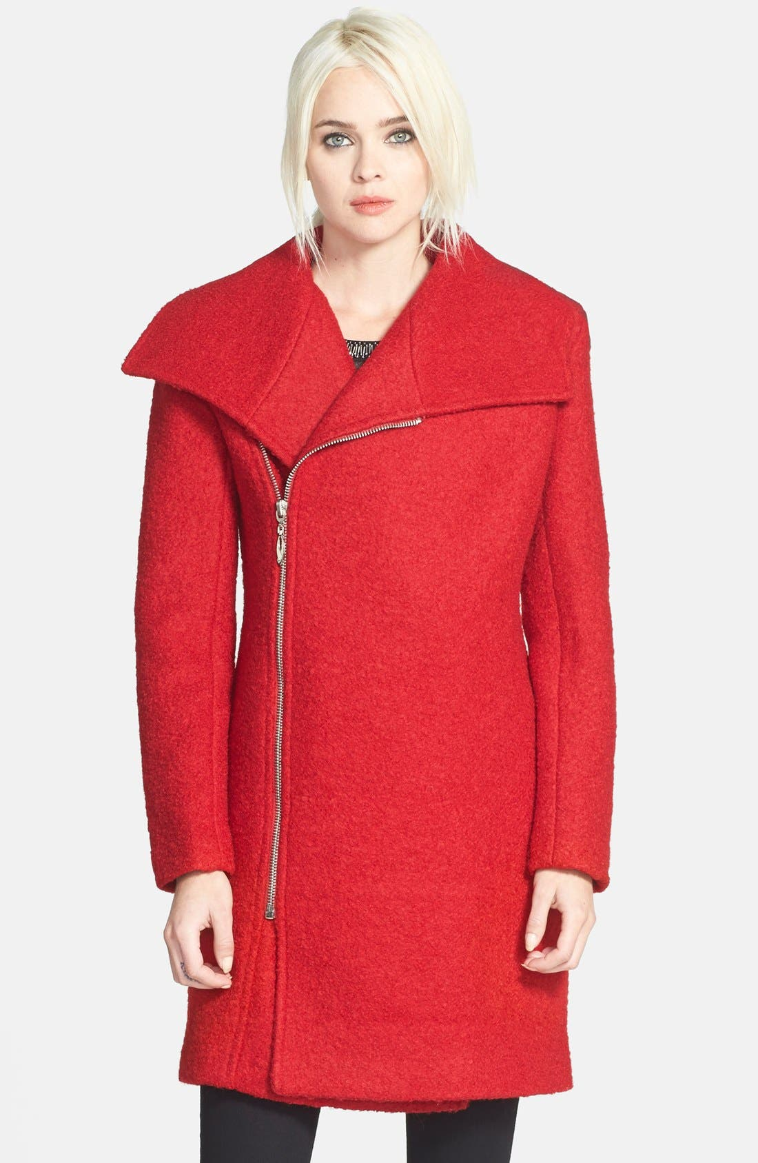 Asymmetrical Zip Coat,                             Main thumbnail 1, color,                             Raspberry