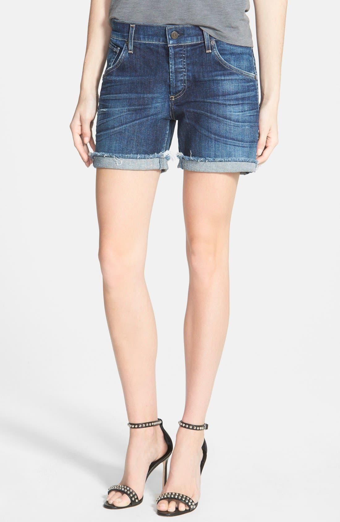 'Skyler' Low Rise Denim Shorts,                             Main thumbnail 1, color,                             Blue Ridge