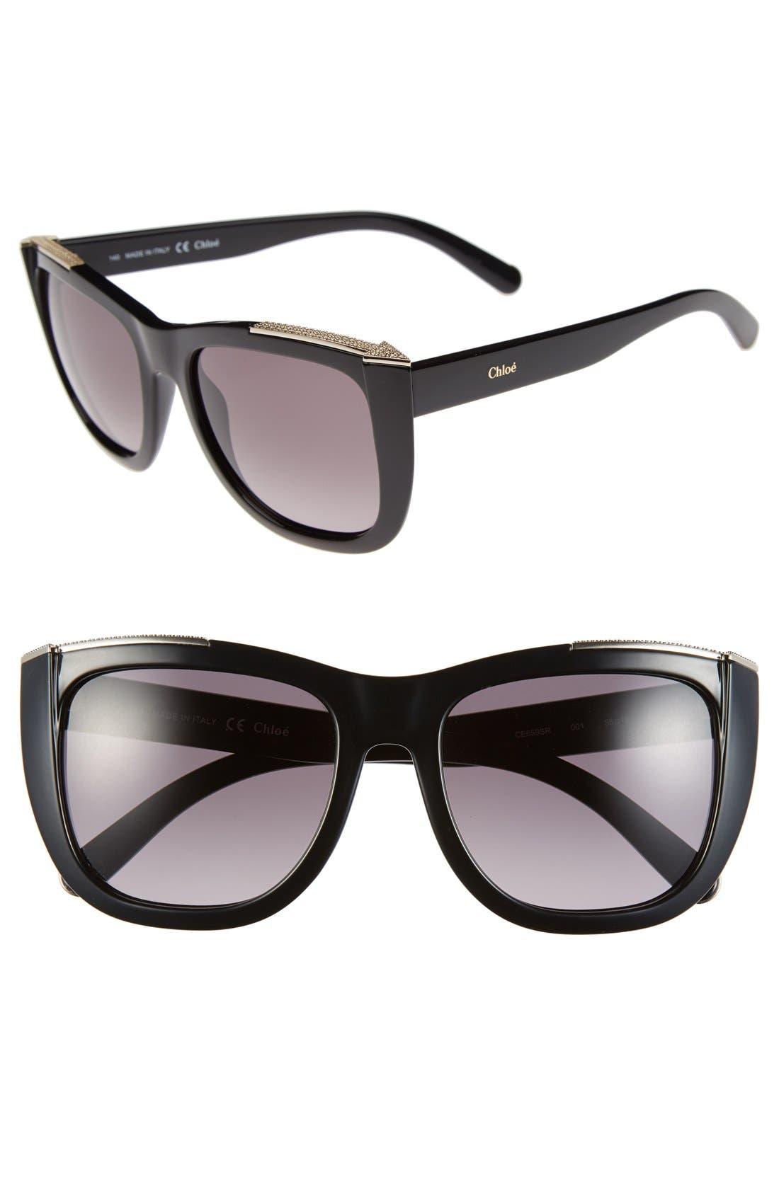 'Dallia' 55mm Sunglasses,                         Main,                         color, Black