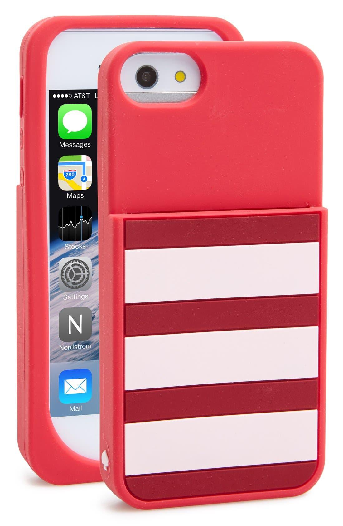Alternate Image 1 Selected - kate spade new york stripe pocket iPhone 5 & 5s case