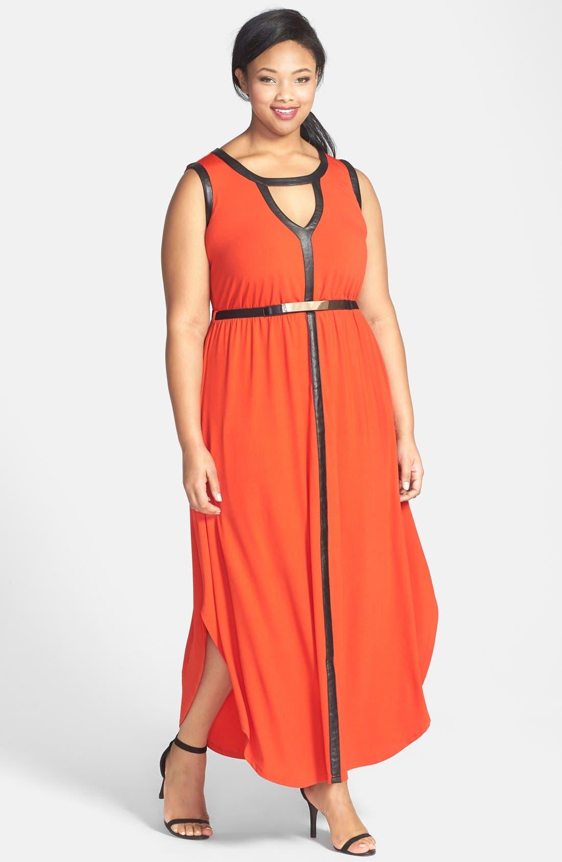 Main Image - City Chic 'Grecian' Faux Leather Trim Keyhole Maxi Dress (Plus Size)