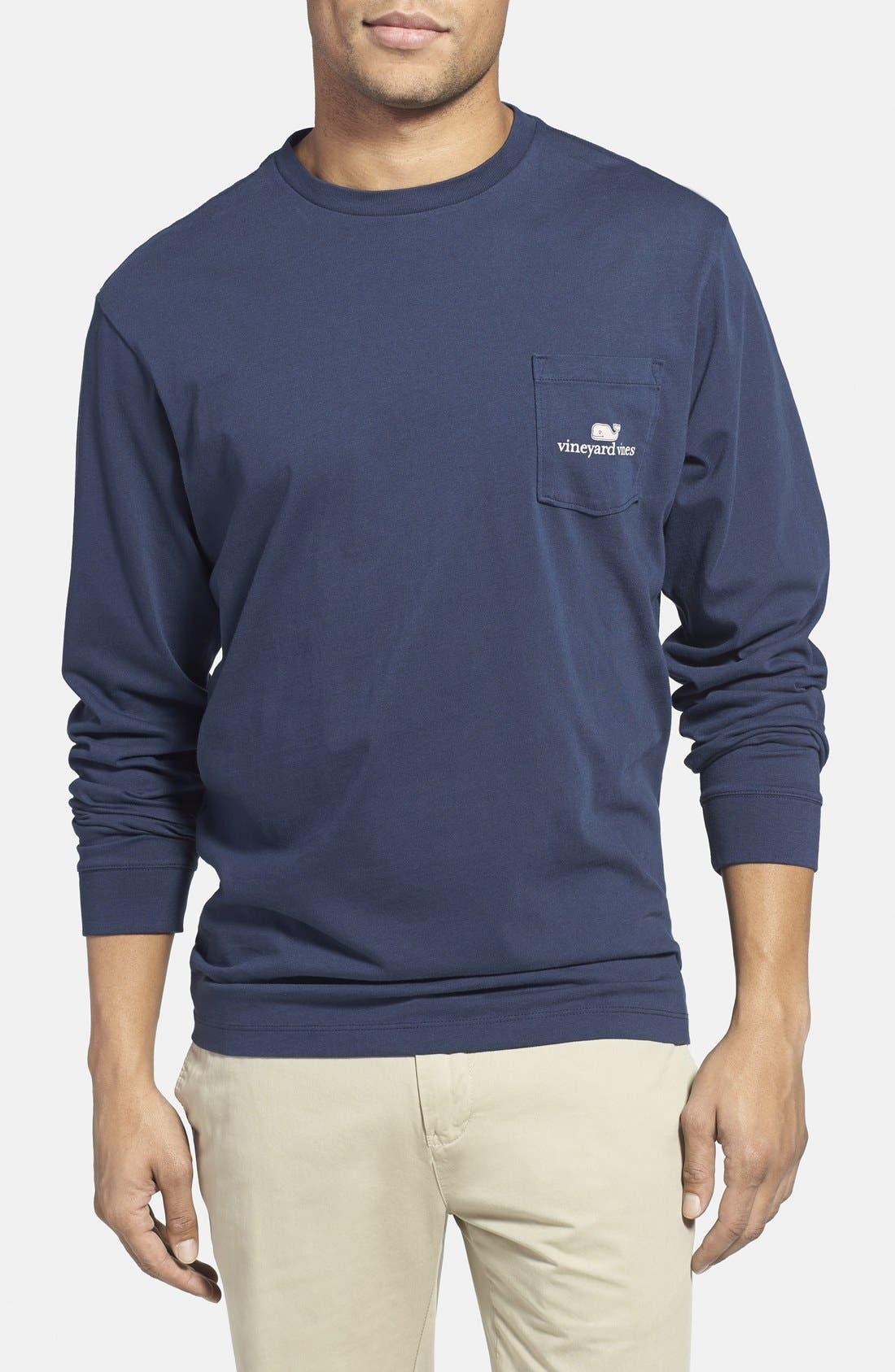 Logo Pocket Long Sleeve Crewneck T-Shirt,                             Alternate thumbnail 2, color,                             Vineyard Navy