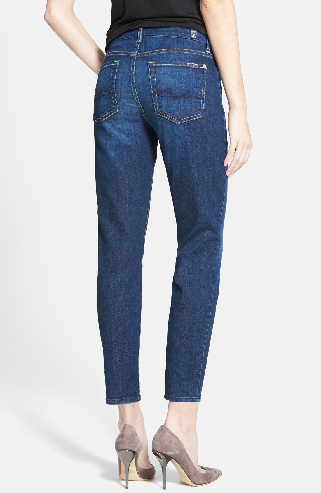 Alternate Image 2  - 7 For All Mankind® 'Kimmie' Contour Waist Crop Jeans (Lovely Medium Blue 2)