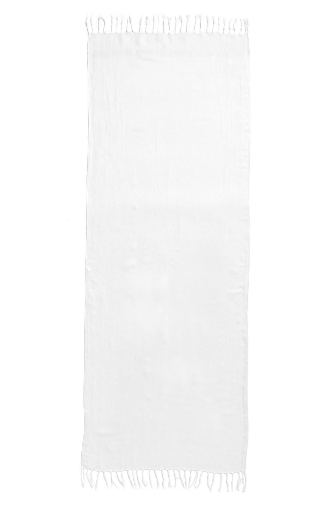 Linen Blend Scarf,                             Alternate thumbnail 3, color,                             White