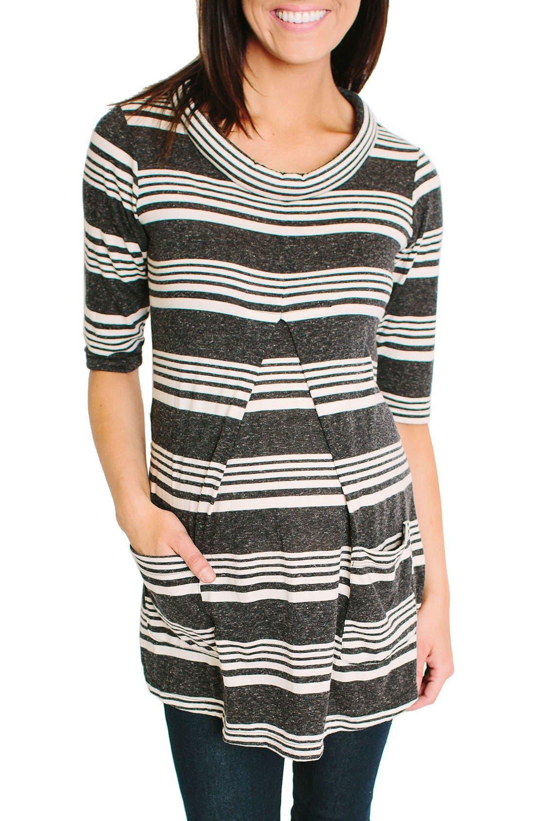 Clio Maternity Top,                         Main,                         color, Gray Stripe