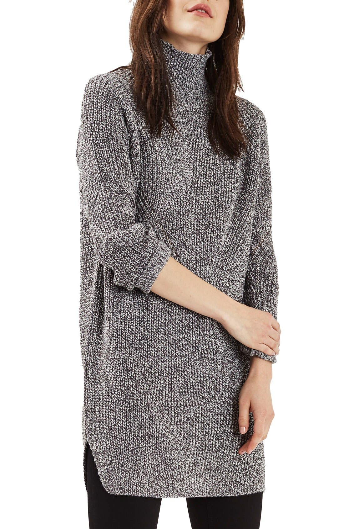 Main Image - Topshop Grunge Funnel Neck Sweater Dress