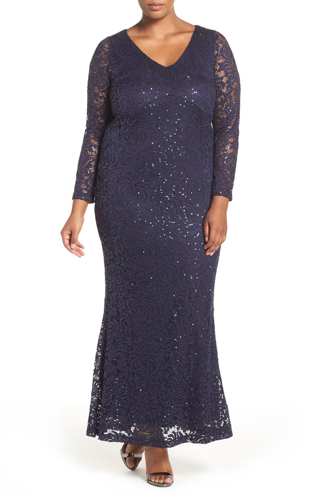 Stretch Lace Gown,                         Main,                         color, Navy