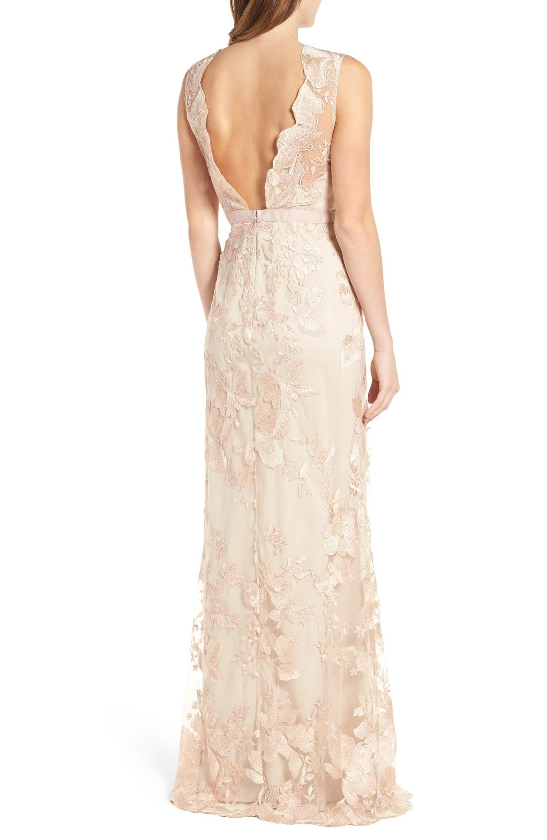 Alternate Image 2  - Adrianna Papell Sleeveless Embroidered Tulle Gown