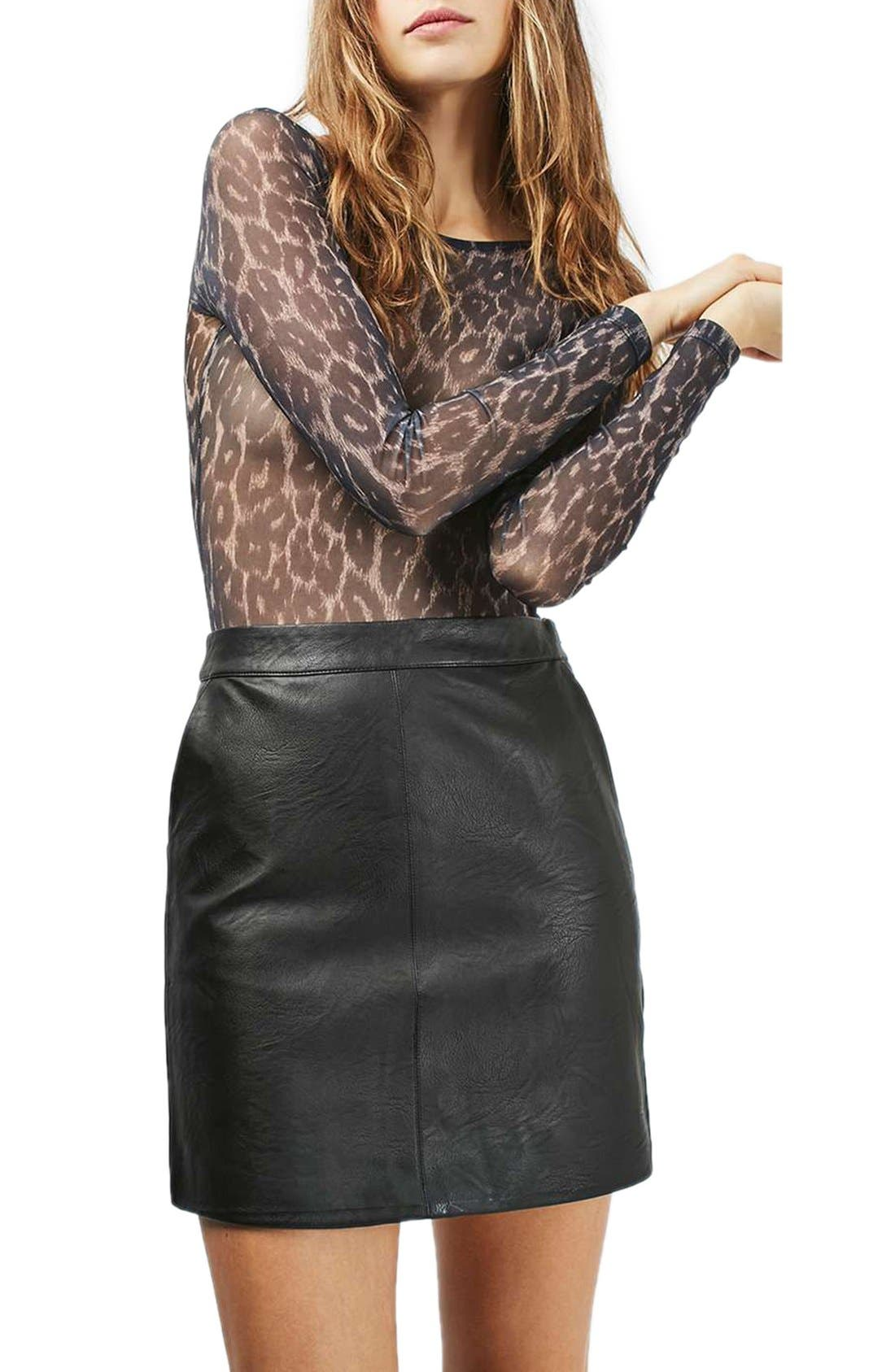 Alternate Image 1 Selected - Topshop Faux Leather Pencil Skirt (Regular & Petite)