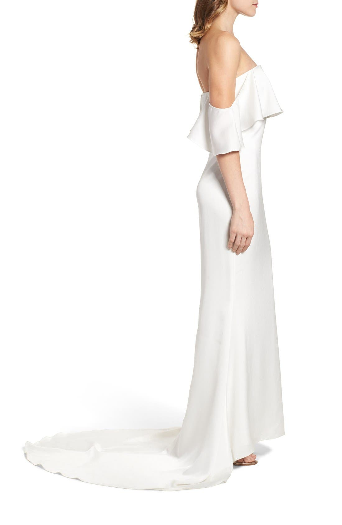 The Santa Barbara Off the Shoulder Gown,                             Alternate thumbnail 4, color,                             White