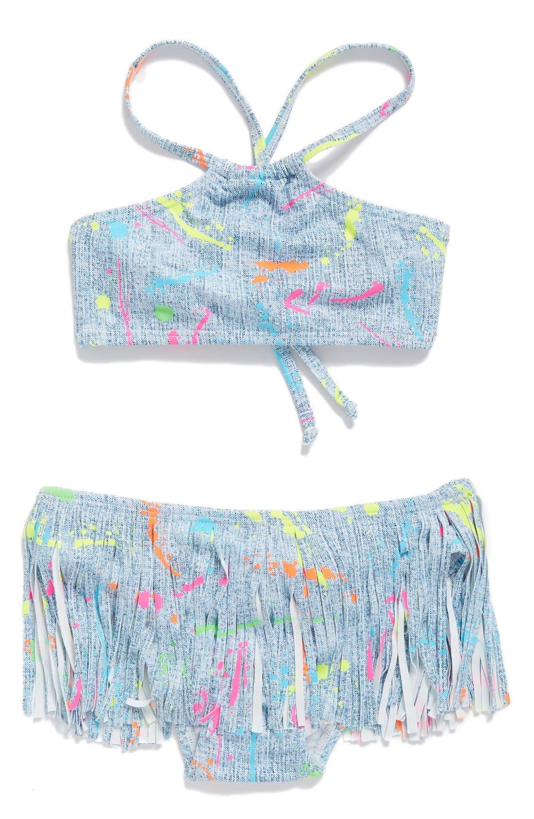 Alternate Image 1 Selected - PilyQ Fringe Two-Piece Swimsuit (Big Girls)