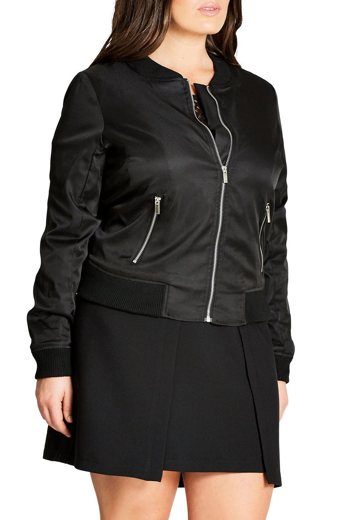 Alternate Image 3  - City Chic Zip Front Bomber Jacket (Plus Size)