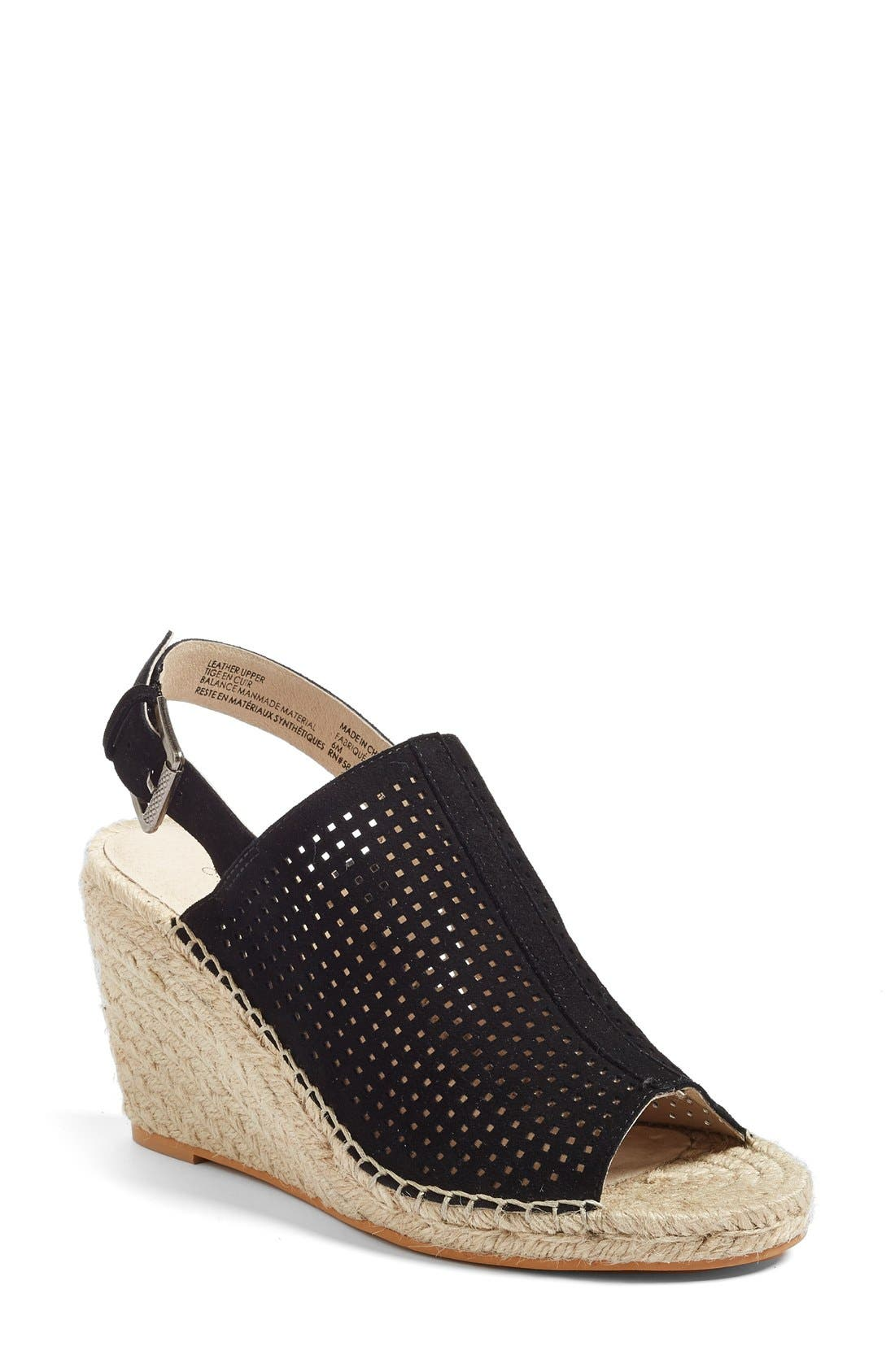 Sutton Slingback Sandal,                             Main thumbnail 1, color,                             Black Perferated Kidsuede