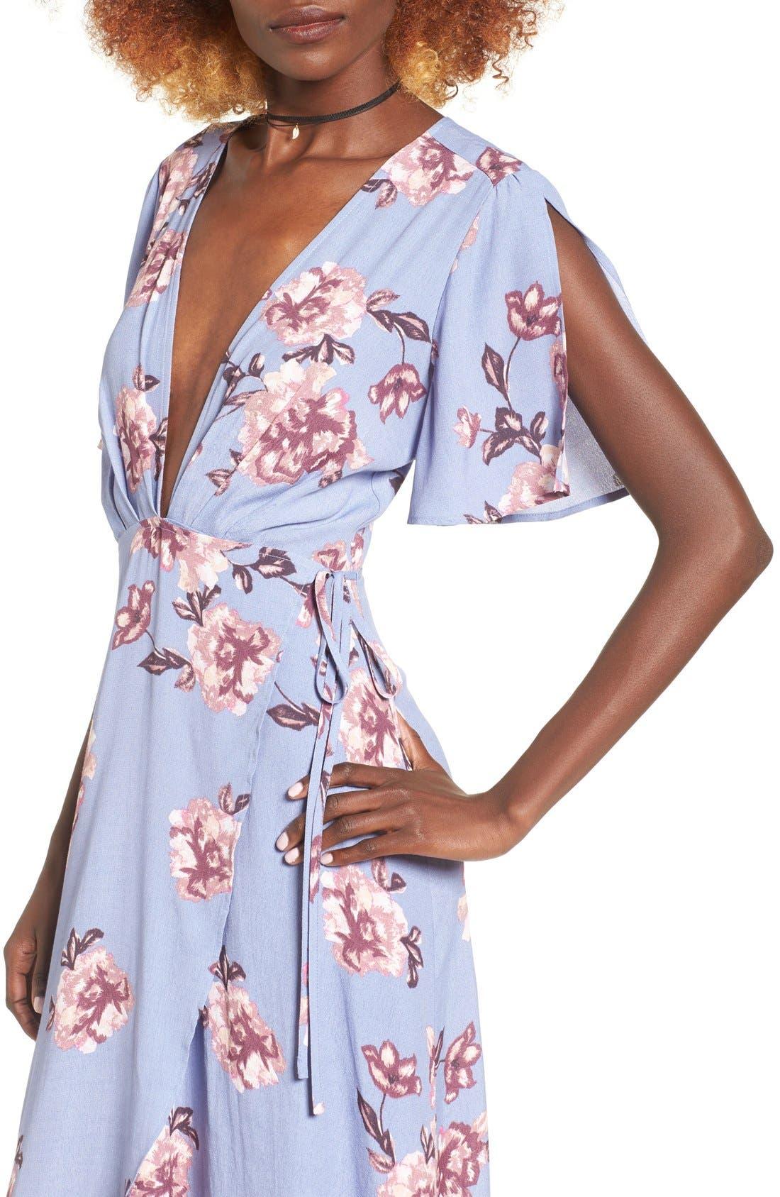 Alternate Image 5  - ASTR Selma Floral Print Wrap Dress