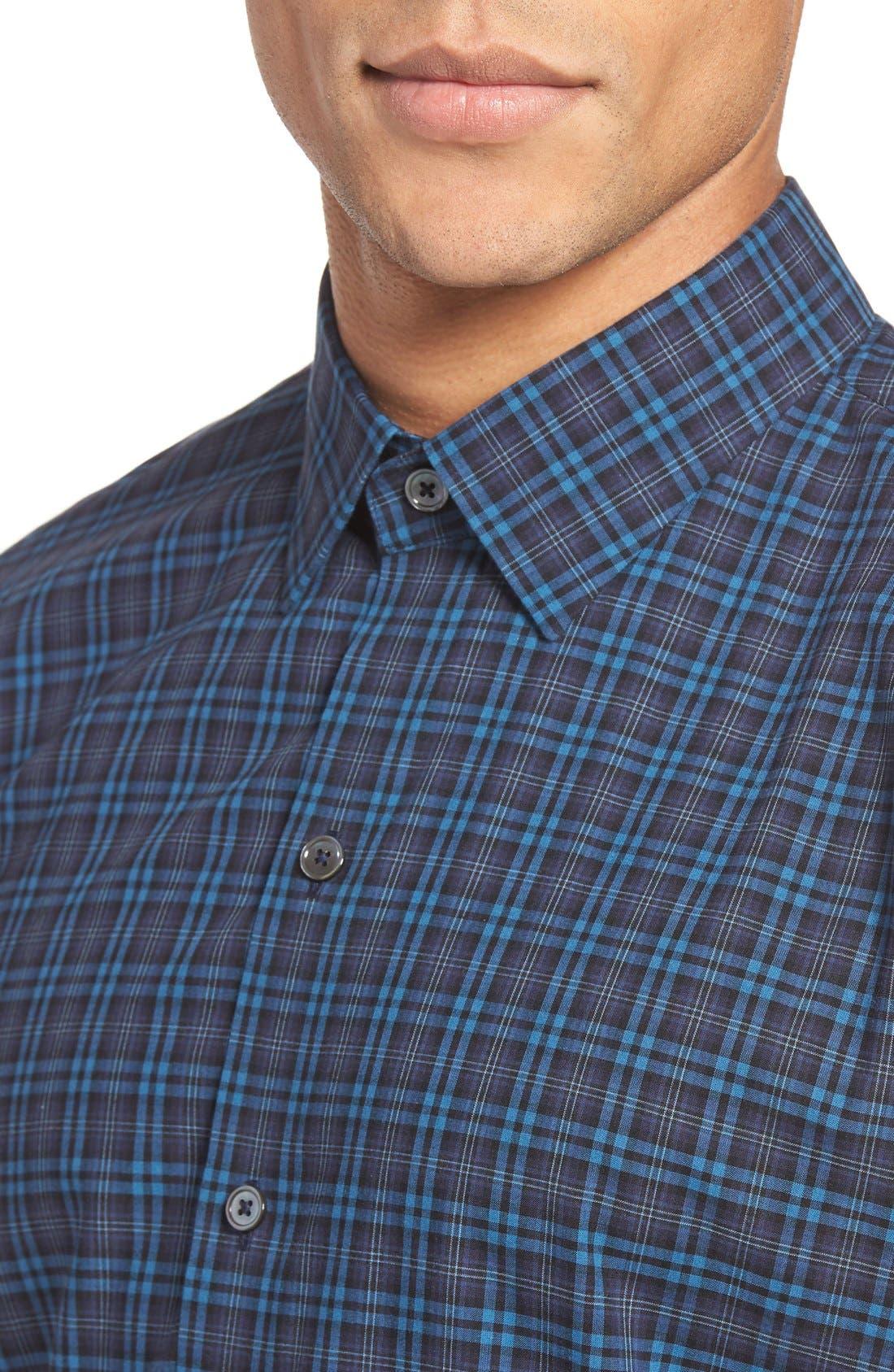Adler Trim Fit Plaid Sport Shirt,                             Alternate thumbnail 4, color,                             Blue
