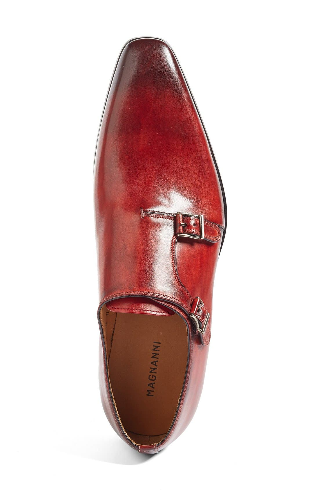 Jamin Double Monk Strap Shoe,                             Alternate thumbnail 3, color,                             Red Leather
